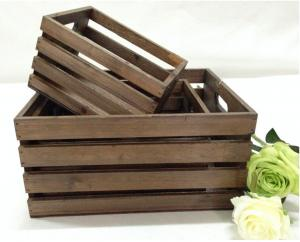 China wood crates nested box set of 3, brown dyeing color, gardon wood box on sale