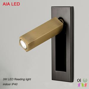 China Interior IP20 brush brass decorative recessed mounted LED wall light for bedside on sale