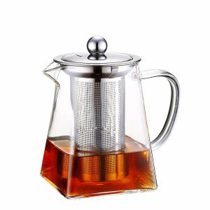 China Christmas present 750ml square shape pyrex glass teapot with infuser on sale