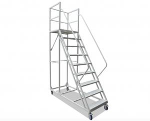 China Multi Functional Rolling Warehouse Ladders On Wheels / Rolling Step Ladder Safety on sale