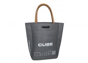 Quality Leather Cut Handles Non Woven Polyester Tote Bags Large Stylish Felt For