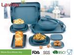 Food Safe Durable Bamboo Fiber Dinnerware , Square Navy Blue Bamboo Tableware Set