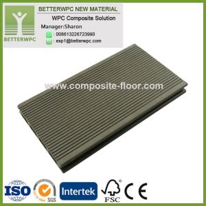 China 145*24mm Wholesale Good Price Synthetic Plastic Wood Decking Highly UV Resistant WPC Decking Floor on sale