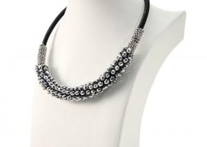 China Black Leather Choker Costume Jewelry Necklaces , Twisted Crystal Bead Necklace Jewelry on sale
