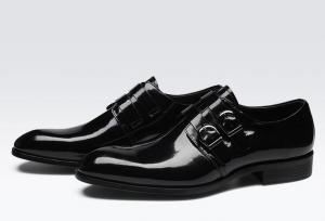 China Retro Brogue Men Formal Dress Shoes , Business Office Black Oxford Shoes on sale