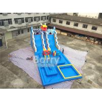 Summer Dragon Heald Blue Big Inflatable Water Slides With Pool For Kids Amusement