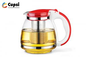 China Red Borosilicate Glass Tea Kettle Heat Resistant With 304 Stainless Steel Filter on sale