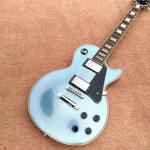 New style high quality custom LP electric guitar, metallic blue, chrome hardware electric guitar, free shipping