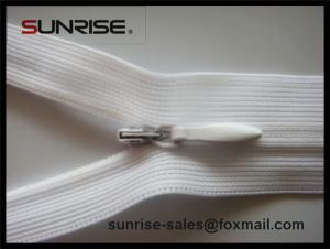 China High quality white seperating ykk wholesale #4 invisible zipper waterdrop slider for dress on sale