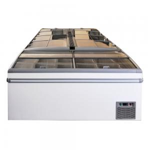 China Supermarket Island Display Freezer Chiller With LED Lights And Sliding Lids on sale