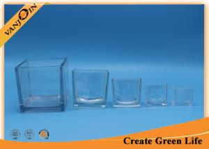 China Recycled decorative Crystal Square clear glass vases Family Sizes on sale
