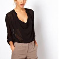 Lightweight chiffon fabric hot sale long sleeve black women skirt dress oem service