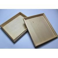 China Custom Logo Wooden Wedding Photo Album Box , Wooden Photo Box With Hinged Lid / Lock on sale