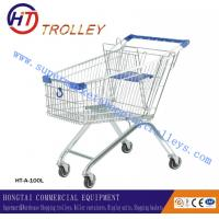 Rolling 100L  Zinc Plated Metal Steel Shopping Trolley European Style