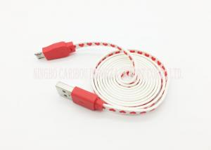China Red Flat Noodle Fast Charging Data Cable Micro Connection With Heart Pattern on sale