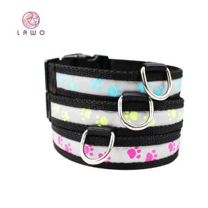 China C903 Factory Supply Wholesale Waterproof Custom Nylon Webbing Logo Printed Flashing Led Dog Collar for Pet Safety on sale
