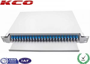 China 24 Port LC Duplex Single Mode Fiber Optical Patch Panel 1U Drawer Slide Type For Cabinet on sale