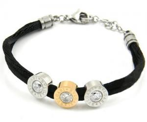 China hot selling black cotton rope bracelet with stainless steel beads on sale