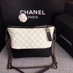 Chanel Gabrielle Chain bag in leather rhomboids with original logo black white high quality replica wholesale