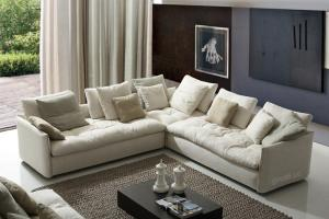 Quality White Comfortable Modern Fabric Sofas Upholstered Home With Feather L Shaped Seat For
