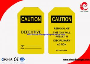 China Industrial Safety Lock Out Tags With Padlocks Custom Language PVC Material on sale