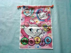 China Розовое изображение кота Мари полиэтиленовых пакетов ручки с нижним Гуссет on sale