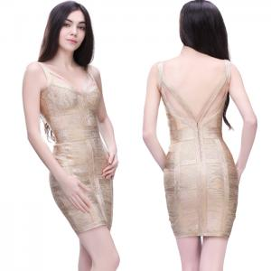 China Luxury sexy gold spaghetti strap slim fit short sheath party evening dresses on sale