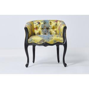 China Luxury Special Vintage Printing Fabric Modern Dining Room Chairs With Arms on sale