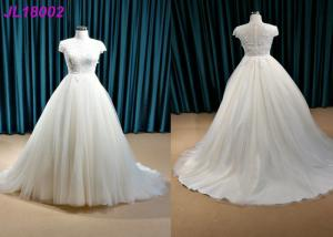 China Ivory Plus Size Princess Wedding Gown , Party Maxi Cap Sleeve Princess Wedding Dresses on sale