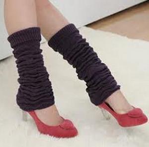 China Purple Knitted Leg Warmer , Anti - Pilling Adult Leg Warmers on sale