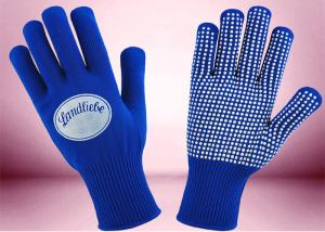 Quality Blue Freezer Knitted Working Hands Gloves Custom Logo Silicone Printing for sale