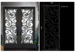 Top Notch Security Easy Cleaning Inlaid Door Wrought Iron Glass