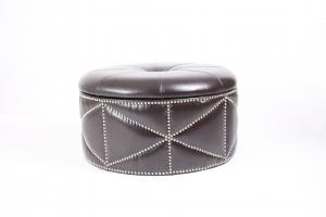 China leather round household wood shoe box storage ottoman stool with crystal on sale