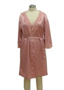 China Pink Home Ladies Night Dresses Sleepwear Solid Satin Night Robe With Lace on sale