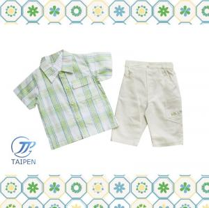 China Green Plaid T Shirt And Short Sleeves Pants 2 Pieces Cotton Baby Layette Set on sale