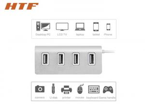 China Four Port Portable USB Hub 2.0 , Universal USB Travel Charger Silver Aluminum Material on sale