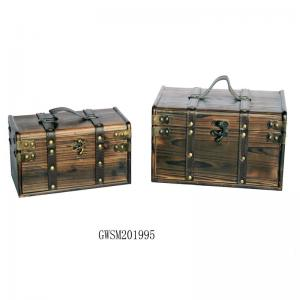 China ODM Wood Crafted Square L30 Rustic Chest Trunk on sale