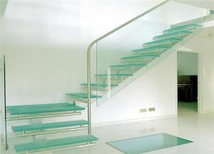 China Glass stairs residential steel stairs straight staircase designs for villa on sale