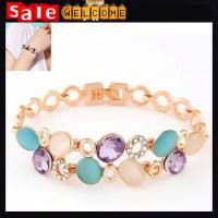 Bohemia Golden Colorful Opal Crystal Diamond Crytal Twisted Multilayer Braid Bangle