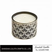 China Non Toxic Scented Three Wick Candle In Special Flower Carving Pattern Bottle on sale