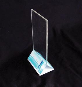 China A4 Size 3mm Acrylic Menu Holder With Triangle Base For Cafe Bar on sale