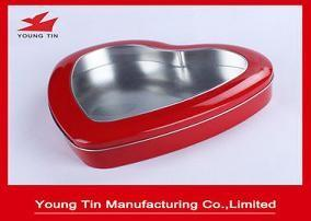 China Red Color Metal Tinplate Tin Box Wedding Gift Packaging With Clear PVC Window On Top on sale