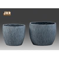 Textured Fiber Clay Flower Pots Planters Clay Garden Pots Round Gray Color