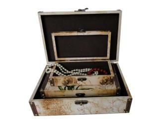 China PUの革は装飾的なトランク箱の浮彫りになる/熱い押すことギフトのための木の収納箱/大箱を覆いました on sale
