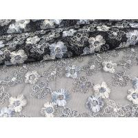 Floral Design Embroidered Tulle Lace Fabric For Bridal Wedding Dresses