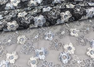China Floral Design Embroidered Tulle Lace Fabric For Bridal Wedding Dresses on sale