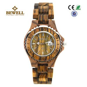 China 3 Atm Stainless Steel Bezel Handmade Wooden Watches With Zebra Wood Case on sale