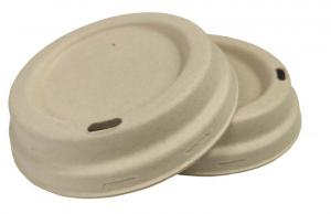 China 80mm Molded Pulp Sugarcane Compostable 8oz coffee cup lids on sale