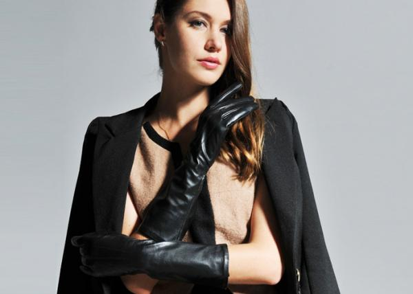 54e5abcdc0ae4 Basic Style Ladies Long Leather Gloves   Women Long Black Sheep Lamb Leather  Images