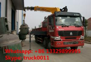 China Heavy duty SINO TRUK 8*4 HOWO 16tons Truck with Crane,factory sale best price Truck with XCMG Crane Truck with crane on sale